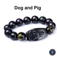 Natural Obsidian Eight Patron Zodiac Bracelet Dog or Pig Bracelet