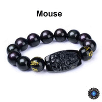 Natural Obsidian Eight Patron Zodiac Bracelet Mouse Bracelet