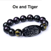 Natural Obsidian Eight Patron Zodiac Bracelet Ox or Tiger Bracelet