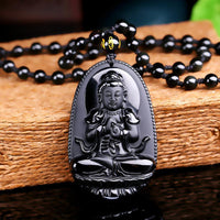 Natural Obsidian Hand Carved Buddha Amulet Pendant Necklace Style 2 Necklace