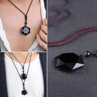 Natural Obsidian Hexagram Pendant Necklace Necklaces