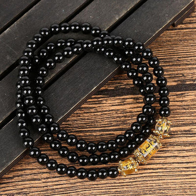 Natural Obsidian Zodiac Animal Wrap Bracelet Bracelet