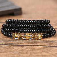 Natural Obsidian Zodiac Animal Wrap Bracelet dog Bracelet