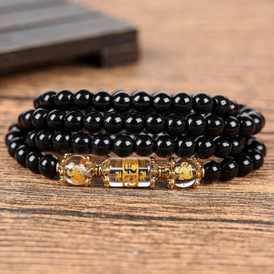 Natural Obsidian Zodiac Animal Wrap Bracelet monkey Bracelet