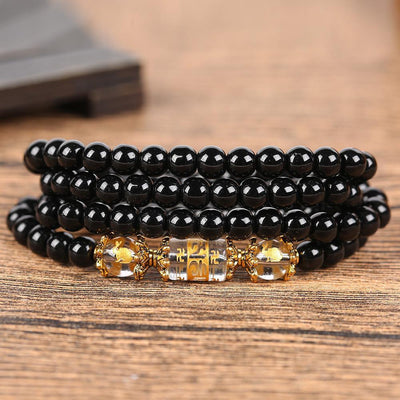 Natural Obsidian Zodiac Animal Wrap Bracelet rabbit / hare Bracelet