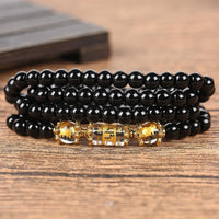 Natural Obsidian Zodiac Animal Wrap Bracelet sheep / ram Bracelet