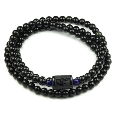Natural Rainbow Obsidian Multiwrap Bracelet Phoenix - 6mm Beads Bracelet