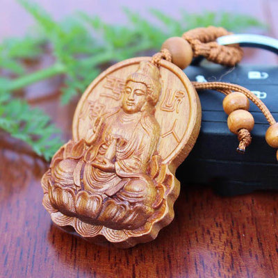 Natural Rosewood Hand Carved Avalokitesvara Buddhist Key Holder Keychains