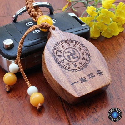Natural Rosewood Happy Buddha Key Ring Keychains