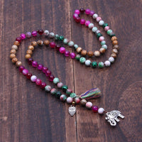 Natural Stone Beads with Owl and Elephant Tassel Charm Knotted Statement Long Necklace Necklace