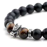 Natural Tiger Eye & Black Agate Beads Dragon Head Bracelet Bracelet