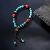 Natural Turquoise Bead Wrist Mala Set Jewelry Set