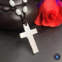 Natural White Jade Cross Pendant Necklace Necklace