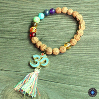 Natural Wood and Stone Beads OM Mantra Charm Tassel Bracelet 7 Chakra Bracelet