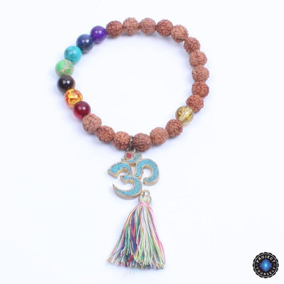 Natural Wood and Stone Beads OM Mantra Charm Tassel Bracelet Bracelet