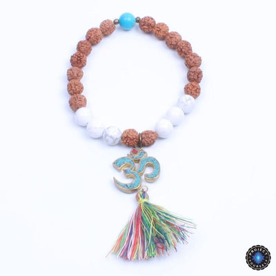 Natural Wood and Stone Beads OM Mantra Charm Tassel Bracelet Style 2 Bracelet