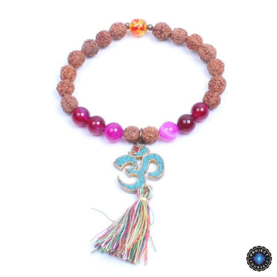 Natural Wood and Stone Beads OM Mantra Charm Tassel Bracelet Style 3 Bracelet