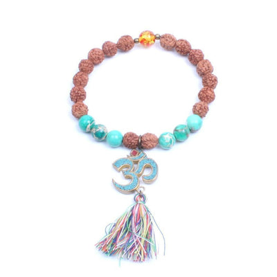 Natural Wood and Stone Beads OM Mantra Charm Tassel Bracelet Style 4 Bracelet