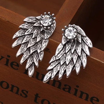 New Fashion Angel Wings Rhinestone Alloy Stud Earrings Antique Silver Earrings