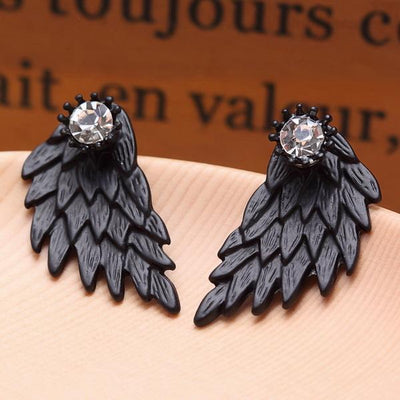 New Fashion Angel Wings Rhinestone Alloy Stud Earrings Black Earrings