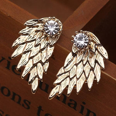 New Fashion Angel Wings Rhinestone Alloy Stud Earrings Gold Earrings