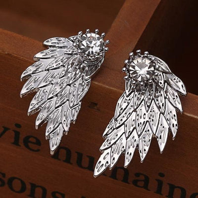 New Fashion Angel Wings Rhinestone Alloy Stud Earrings Silver Earrings