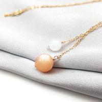 """Night and Day"" Natural Sunstone and Moonstone 9K Gold Necklace Necklace"