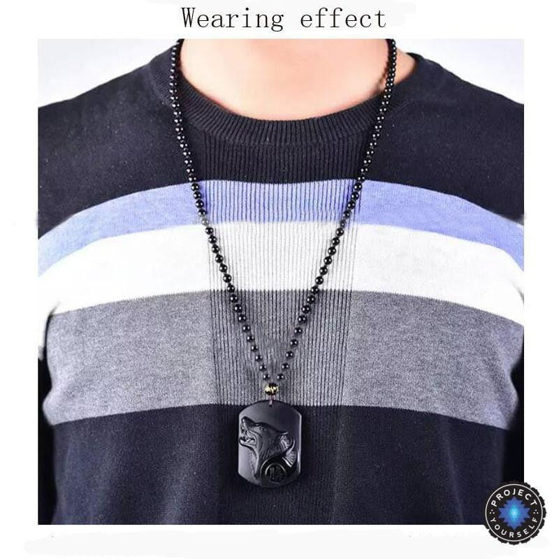 Obsidian wolf head pendant necklace project yourself obsidian wolf head pendant necklace necklace aloadofball Image collections