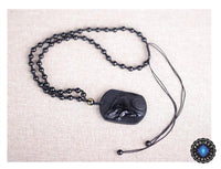 Obsidian Wolf Head Pendant Necklace Necklace