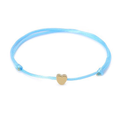 One Love Lucky Handmade Rope Bracelet Blue - Gold Bracelet