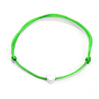 One Love Lucky Handmade Rope Bracelet Green - Silver Bracelet