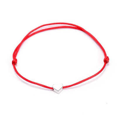 One Love Lucky Handmade Rope Bracelet Red - Silver Bracelet