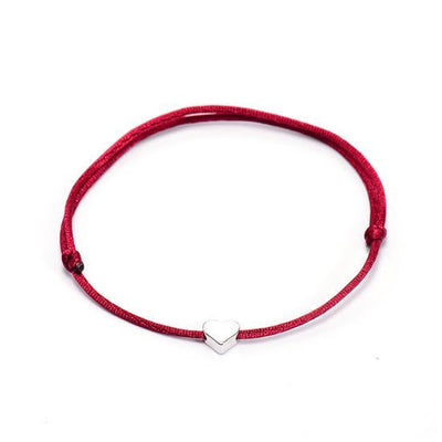 One Love Lucky Handmade Rope Bracelet Wine Red - Silver Bracelet