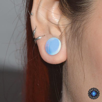 Opalite Stone Ear Plugs Tunnel Gauge Earrings