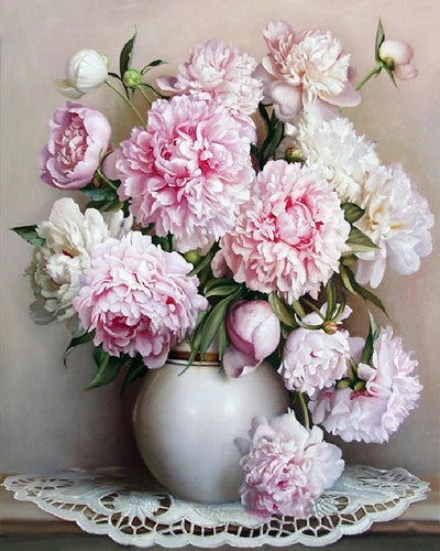 Painting By Numbers Pink Peonies Painting