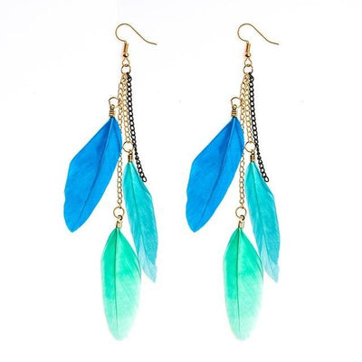 Paradise Feathers Dangling Earrings Blue Mix 1 Earrings