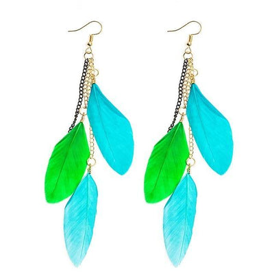 Paradise Feathers Dangling Earrings Blue Mix 2 Earrings