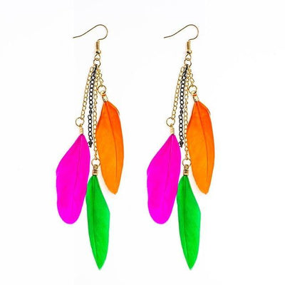 Paradise Feathers Dangling Earrings Colorful 1 Earrings