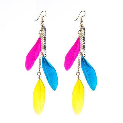 Paradise Feathers Dangling Earrings Colorful 2 Earrings