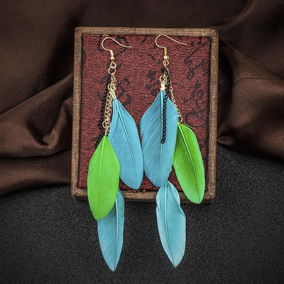 Paradise Feathers Dangling Earrings Earrings