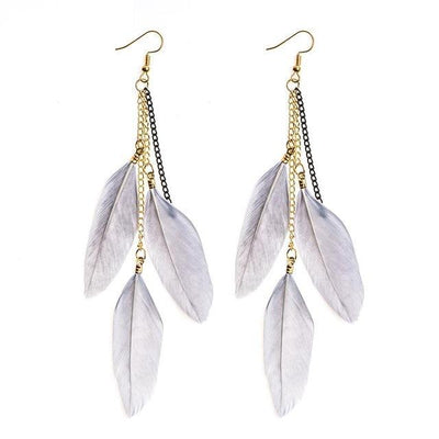 Paradise Feathers Dangling Earrings Gray Earrings
