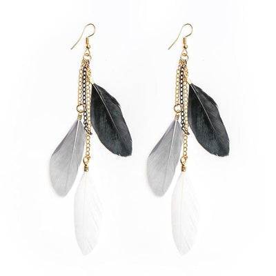Paradise Feathers Dangling Earrings Gray Mix Earrings