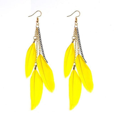 Paradise Feathers Dangling Earrings Yellow Earrings