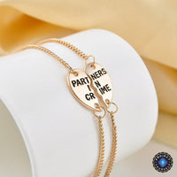 Partners In Crime Split Heart Friendship Couples Bracelet Set 14K Gold Plated Bracelet