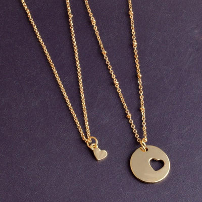 Piece of My Heart Pendant Necklace Set Gold Necklace