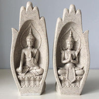 Prayers of Buddha 2-Piece Sandstone Statue Decor