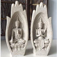 Prayers of Buddha 2-Piece Sandstone Statue Natural Decor
