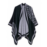 Warm and Cozy Geometric Poncho