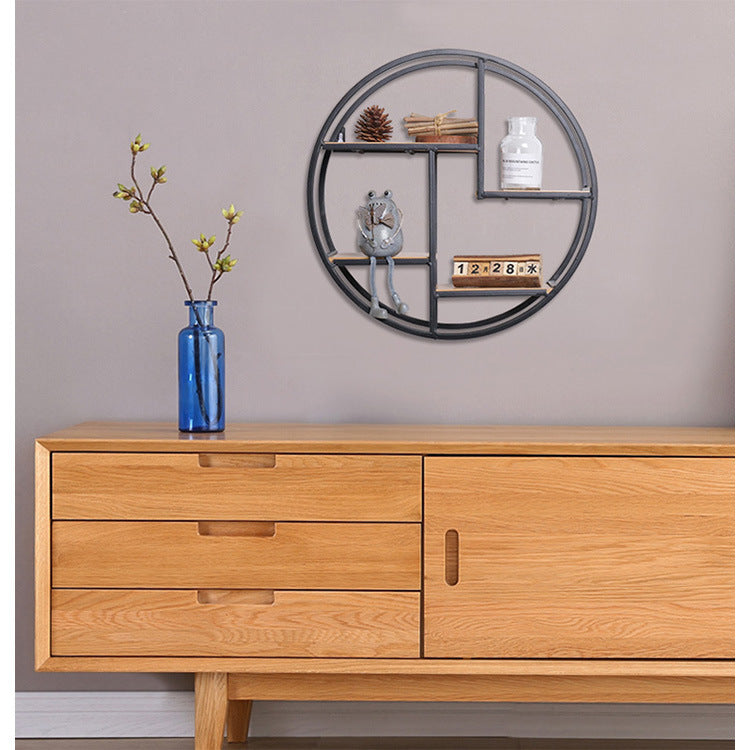 Retro Round Wooden Wall Hanging Metal Shelf Project Yourself