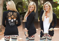 Hollow Back Lace Skull Cardigan